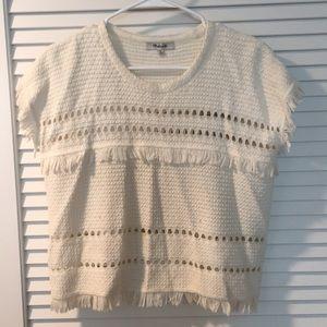 madewell tassel crochet sleeveless tank sweater
